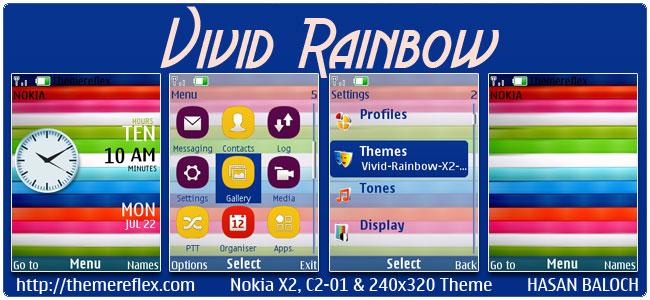 Vivid Rainbow Theme for Nokia X2-00, C2-01, 2700, 206, X3-00, X2-05, 6303i & 240×320