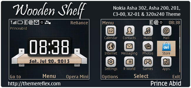 Wooden Shelf Theme for Nokia C3-00, X2-01, 205, Asha 200, 201, 302