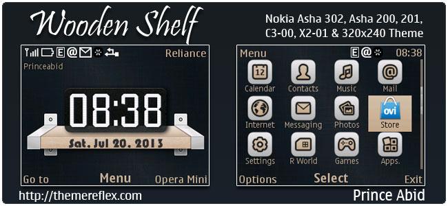 Wooden Shelf Theme for Nokia C3-00, X2-01, 205, Asha 200, 201, 302
