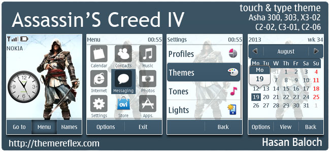 Assassins's Creed IV Black Flag Theme for Nokia Asha 300/303, X3-02, C2-02, C2-03, C2-06, touch & type
