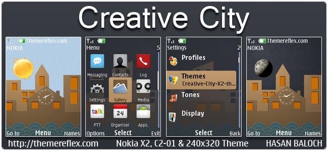 Creative City Live Theme for Nokia X2-00, C2-01, X2-02, X3-00, X2-05, 2700, 6303i, 206 & 240×320