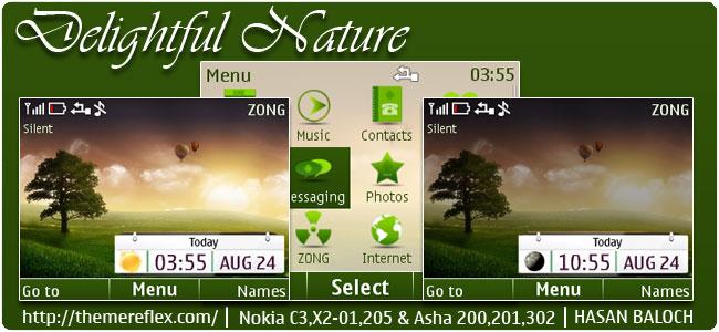 Delightful Nature Live Theme for Nokia C3-00, X2-01, Asha 200, 201, 205, 210, 302 & 320×240