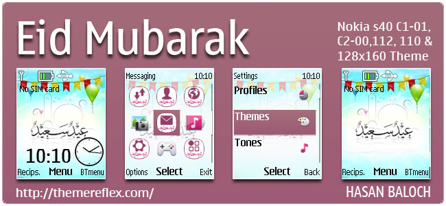 Eid Mubarak 2013 Theme for Nokia C1-01, C2-00, 110, 112, 2690 & 128×160