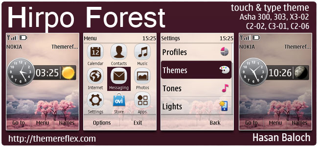 Hirpo Forest Theme for Nokia Asha 300/303, X3-02, C2-02, C2-03, C2-06, touch & type