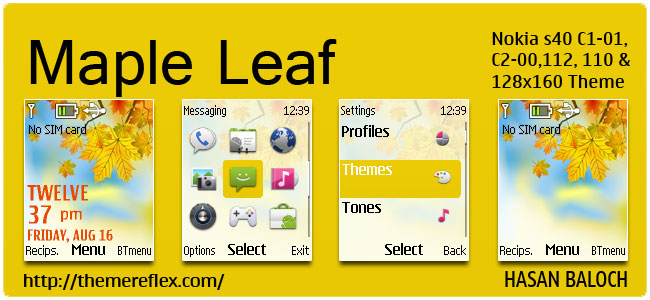Maple Leaves Theme for Nokia C1-01, C2-00, 110, 112, 2690 & 128×160