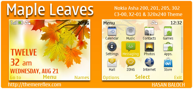 Maple Leaves Theme for Nokia C3-00, X2-01, Asha 200, 201, 205, 210, 302 & 320×240
