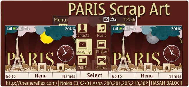 PARIS Scrap Art Live Theme for Nokia C3-00, X2-01, Asha 200, 201, 205, 210, 302 & 320×240