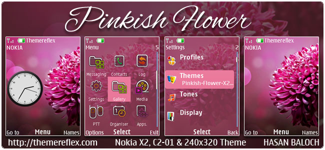 Pinkish Flower Theme for Nokia X2-00, C2-01, X3-00, X2-05, 2700, 6303i & 240×320