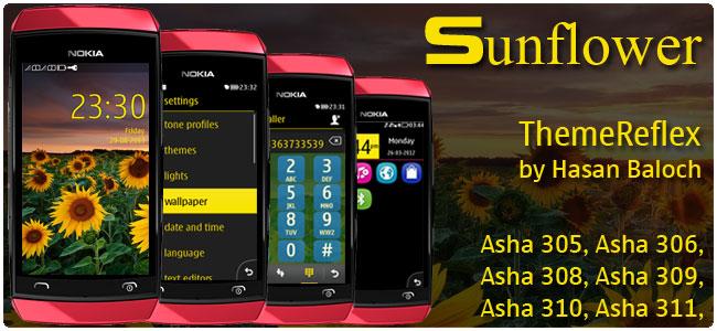 Sunflower Theme for Nokia Asha 305, Asha 306, Asha 308, Asha 309, Asha 310, Asha 311