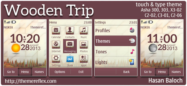 Wooden Trip Live Theme for Nokia Asha 300/303, 202, C2-02, C2-03, C2-06, X3-02, touch & type
