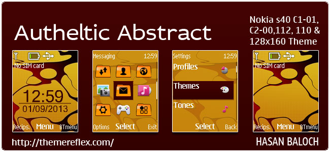 Autheltic Abstract Theme for Nokia C1-01, C1-02, C2-00, 110, 112, 2690 & 128×160