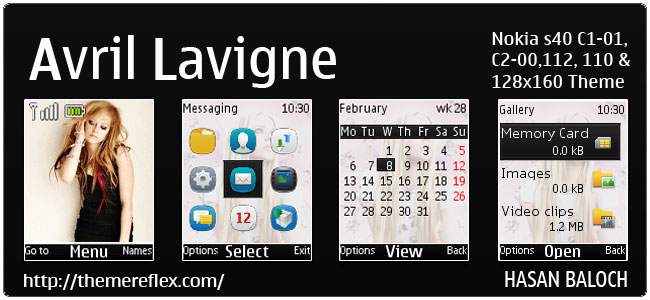Avril Lavigne Animated Theme for Nokia C1-01, C1-02, C2-00, 110, 112, 113, 2690 & 128×160