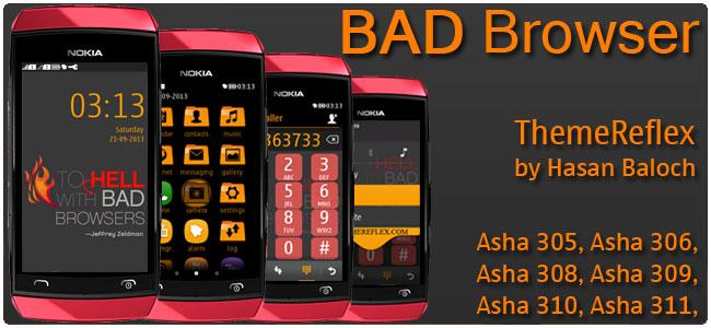 BAD Browser Quote Theme for Nokia Asha 305, Asha 306, Asha 308, Asha 309, Asha 310, Asha 311 & full touch devices