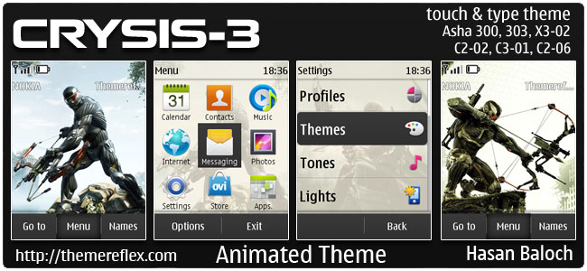Requested Theme: Crysis 3 Animated Theme for Nokia Asha 300, 303, 202, C2-03, C2-02, C2-06, X3-02, touch & type