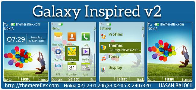 Galaxy Inspired v2 Theme for Nokia X2-00, X2-02, X2-05, X3