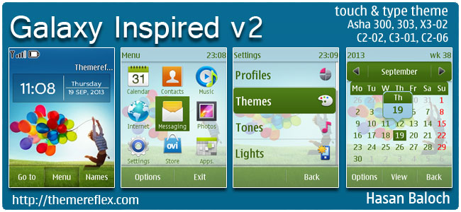 Galaxy Inspired v2 Theme for Nokia Asha 300, 303, 202, C2-02, C2-03, C2-06, X3-02, touch & type devices