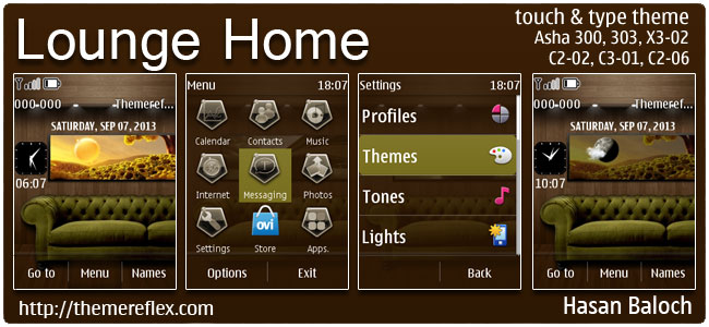 Lounge Home Live Theme for Nokia Asha 300, 303, 202, C2-02, C2-03, C2-06, X3-02, touch & type