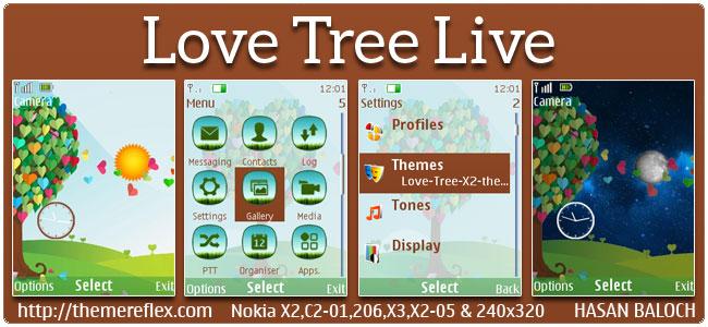 Love Tree Live Theme for Nokia X2-00, X2-02, X2-05, C2-01, 206, 301, 2700 & 240×320 devices