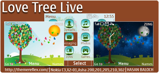 Love Tree Live Theme for Nokia C3-00, X2-01, Asha 200, 201, 205, 210, 302 & 320×240