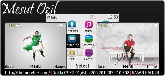 Requested Theme: Mesut Ozil Animated Theme for Nokia C3-00, X2-01, Asha 200, 201, 205, 210, 302 & 320×240