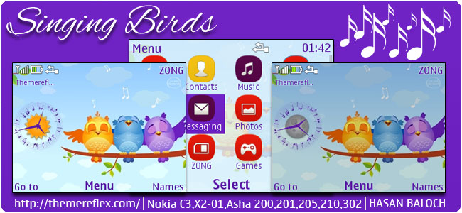 Singing Birds Live Theme for Nokia C3-00, X2-01, Asha 200, 201, 205, 210, 302 & 320×240