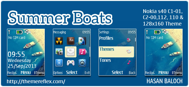 Summer Boats Theme for Nokia C1-01, C1-02, C2-00, 2690, 110, 112, 113 & 128×160 devices.