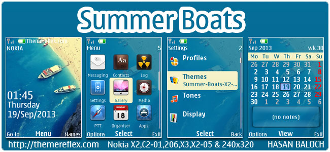 Summer Boats Theme for Nokia X2-00, X2-02, X2-05, C2-02, 206, 301, X3-00, 2700, 6303i & 240×320 devices