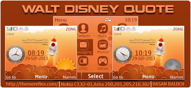 Walt Disney Quote Theme for Nokia C3-00, X2-01, Asha 200, 201, 205, 210, 302 & 320×240 devices