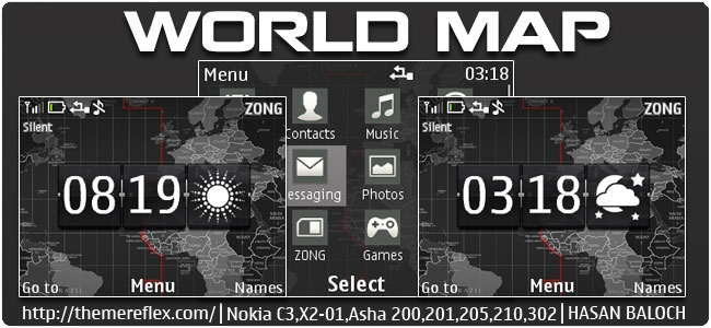 World Map Live Theme for Nokia C3-00, X2-01, Asha 200, 201, 205, 210, 302 & 320×240 devices