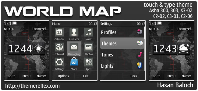 World Map Live theme for Nokia Asha 202, 300, 303, C2-02, C2-03, C2-06, X3-02, touch & type devices