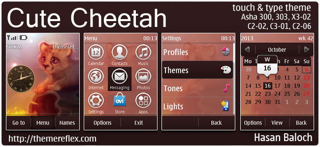 Cute Cheetah Theme for Nokia Asha 202, 300, 303, X3-02, C2-02, C2-03, C2-06, touch & type devices