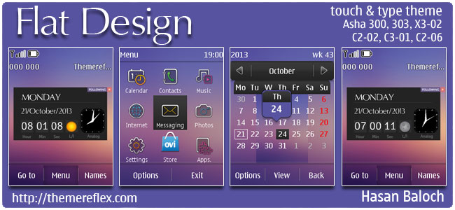 Flat Design Live theme for Nokia Asha 202, 300, 303, C2-02, C2-03, C2-06, X3-02, touch & type devices