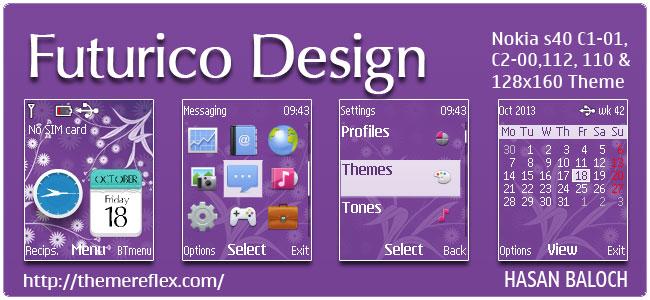 Futurico Design Theme for Nokia C1-01, C1-02, C2-00, 110, 112, 113, 2690 & 128×160 devices