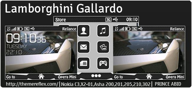 Lamborghini Gallardo Theme for Nokia C3-00, X2-01, Asha 200, 201, 205, 210, 302 & 320×240 devices