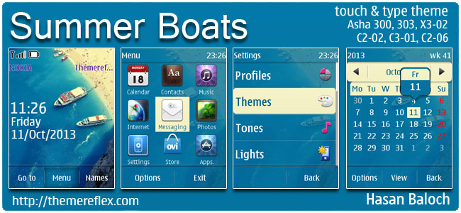 Summer Boats Theme for Nokia Asha 202, 300, 303, X3-02, C2-02, C2-03, C2-06, C3-01, ouch & type devices