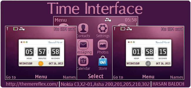 Time Interface Live Theme for Nokia C3-00, X2-01, Asha 200, 201, 205, 210, 302 & 320×240 devices