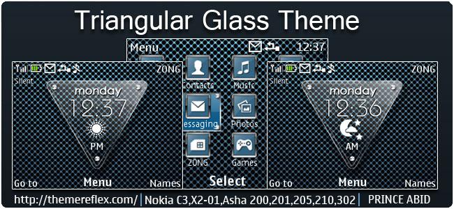 Triangular Glass Live Theme for Nokia C3-00, X2-01, Asha 200, 201, 205, 210, 302 & 320×240 devices