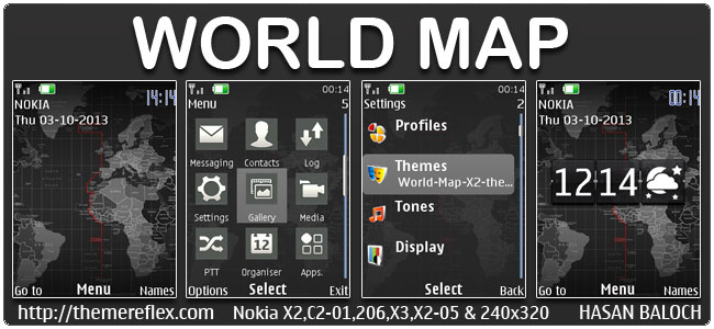 World Map Live Theme for Nokia X2-00, X2-02, X2-05, X3-00, C2-01, 206, 301, 2700 & 240×320 devices