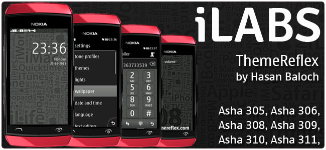 iLABS theme for Nokia Asha 305, Asha 306, Asha 308, Asha 309, Asha 310, Asha 311 devices