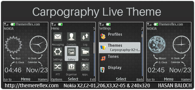 Carpography Live Theme for Nokia X2-00, X2-02, X2-05, X3-00, C2-01, Asha 206, 301, 2700, 6303i