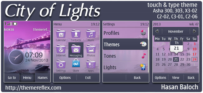 City of Lights Theme for Nokia Asha 202, 300, 303, X3-02, C2-02, C2-03, C2-06, C3-01, touch & type devices