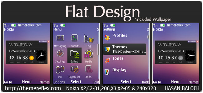 Flat Design Live theme for Nokia X2-00, X2-02, X2-05, X3-00, C2-01, Asha 206, 301, 2700, 6303i & 240×320