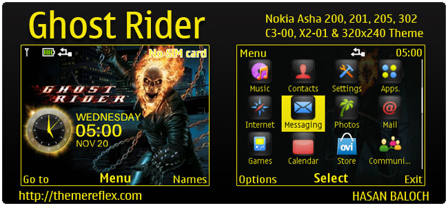 Ghost Rider Theme for Nokia C3-00, X2-01, Asha 200, 201, 205, 210, 302 & 320×240 devices