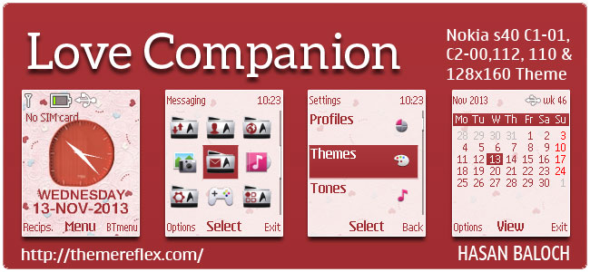 Love Companion Theme for Nokia C1-01, C1-02, C2-00, 110, 112, 113, 108, 2690 & 128×160 (Updated)