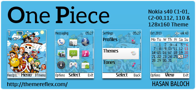 Requested Theme: One Piece Theme for Nokia C1-01, C1-02, C2-00, 110, 112, 113, 108, 2690 & 128×160