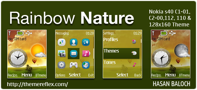 Rainbow Nature Live theme for Nokia C1-01, C1-02, C2-00, 110, 112, 113, 108, 2690 & 128×160