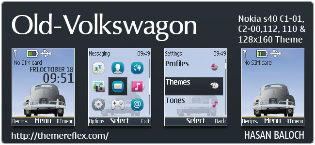 Old Volkswagon Theme for Nokia C1-01, C2-00, C1-02, 110, 112, 113, 2690 & 128×160 devices