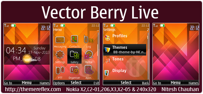 Vector Berry Live theme for Nokia X2-00, X2-02, X2-05, X3-00, C2-01, 206, 301, 2700, 6303i & 240×320 devices