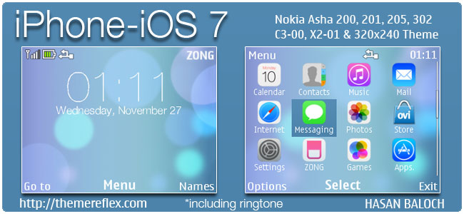 iPhone – iOS 7 theme for Nokia C3-00, X2-01, Asha 200, 201, 205, 210, 302 & 320×20 devices