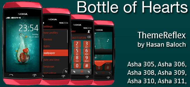 Bottle of Hearts Theme for Nokia Asha 305, Asha 306, Asha 308, Asha 309, Asha 310, Asha 311 and full touch devices